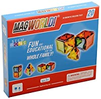 MagWorld Toys Magnetic Construction Rainbow Colors-20 Piece Set. Create 2D and 3D Shapes Figures & Architecture. STEM Play Age 3 and Up. [並行輸入品]