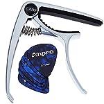 Anpro ギターカポタスト(シルバー)+6枚のピック(0.46、0.71mm2種の厚さ)付き