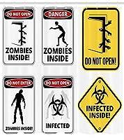 ABAKUHAUSゾンビシャワーカーテン、邪悪な生き物のための警告サイン超常的な建築デザインは開けないでくださいArtworkClothファブリック浴室の装飾セットフック、75インチ、多色