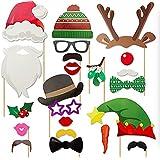 クリスマスパーティー写真ブース用小道具 23個入り クリエイティブなフォトブース用小道具 クリスマスハット付き トナカイ柄 クリスマスヒゲ