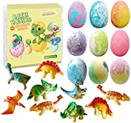 Dino Egg Bath Bomb Gift Set with Dinosaur Inside, 9 Pack Organic Bath Bombs with Surprise Toy Inside, Handmade
