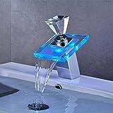 Auralum 洗面台用水栓 蛇口 混合栓 お湯の温度でLEDが3色に変わる シングルレバー 立水栓 個性あふれるデザイン 手洗いボウル用 水道 トイレ用