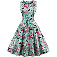 FAIRY COUPLE Women's 50S Vintage Retro Floral Cocktail Swing Dress with Bow