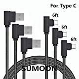 USBタイプCケーブル、sumoon 3パック6ft 90度ナイロン編みUSB A to USB C充電ケーブル高速充電コードfor note8/ s8/ s8Plus , Googleピクセル2XL /ピクセルXL、LG v30/ g6、HTC 10and More