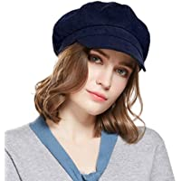 Beret Corduroy Newsboy Hat for Women Visor Adjustable Winter Octagonal Cap for Ladies