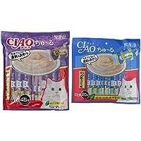 【セット買い】チャオ (CIAO) 猫用おやつ ちゅ~る かつお ほたてミックス味 14g×45本入 & (CIAO) 猫用おやつ ちゅ~る かつお かつお節ミックス味 14g×20本入