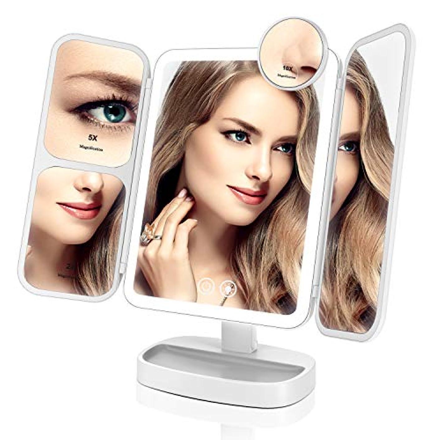 かもめおびえた順応性EASEHOLD 化粧鏡 化粧ミラー 卓上ミラー 鏡 LED付き 【最新バージョン】 リチウム電池 充電式 2&5&10倍拡大鏡付き 指タッチ 明るさ調節可能 プレゼント