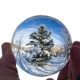 Sumnusクリスタルボール 水晶球 60mm 80mm 撮影レンズボール 無色透明 開運祈願 インテリア 風水グッズ 水晶玉 クリア台座 拭き取り布付き (80mm-スタンド)