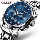 男性用腕時計ファッションメンズ腕時計 3ATM合金ケース 夜光インデックスのポインター ミネラルHardlex水晶ガラス ステンレススチールバンド カレンダー窓 クオーツムーブメント 多機能腕時計