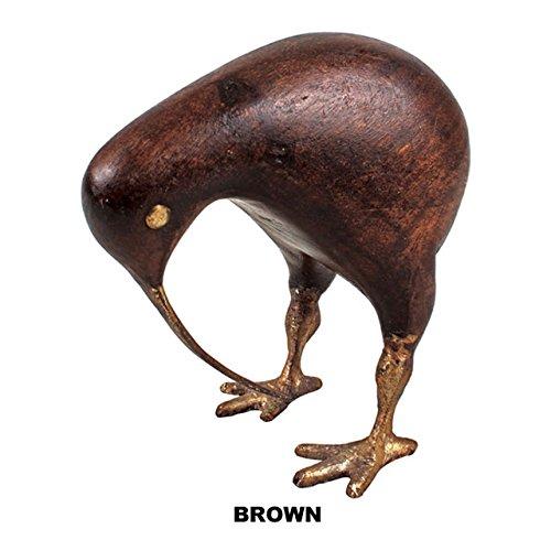 『アジアン雑貨 置物・オブジェ』木彫りアニマル キウイ(スモール:ブラウン)