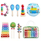 Kids Musical Instruments Musical Instruments Set with Xylophone for Kids Children Percussion Rhythm Band Gift Set Musical Games Tambourine Present with Carrying Bag [並行輸入品]