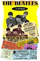 """古いTin Sign 8"""" x 12"""" BeatlesコンサートポスターとチケットクラシックVintgeメタルサインMade in the USA"""