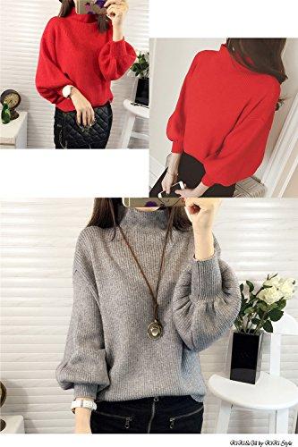 (KiKi&Gil) レディース ニット トップス ドルマンスリーブ 長袖セーター 袖ボリューム リブ シンプル デザイン (グレー )