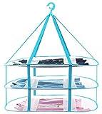 【Desirable】デザイアブル 主婦が選んだ 物干し ネット (返金保証3ヶ月付き)平干し ネット 折りたたみ コンパクト 3段 日本語説明書付き 平置きサイズ77×62cm (ブルー)