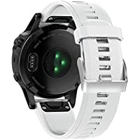 XIHAMA for Garmin Fenix 5 Watch Band, 22mm Silicone Quick Release Replacement Strap Bracelet for Forerunner 935 (Not Fit Fenix 5X 5S) (White)