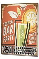 カレンダー Perpetual Calendar Nostalgic Alcohol Retro tropical Bar Tin Metal Magnetic
