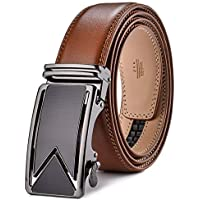"Men's Belt,Wetoper Slide Ratchet Belt for Men with Genuine Leather 1 3/8,Trim to Fit (Up to 44"" waist adjustable, Brown5)"