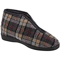 Sleepers Mens Jed II Thermal Zip Check Bootee Slippers