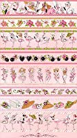 Loralie Designs Flamingo Fancy Flam Border Panel Pink 110cmx60cm:ロラライハリス、フラミンゴ、ボーダーパネル