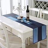AAYU デニム テーブルランナー 45 x 183cm ストーンウォッシュ パッチワーク プレミアム品質 カフェ風
