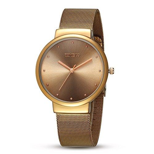 TIME100 ファション ロマンチック 円形 防水 クォーツ メンズ 腕時計 #W50199G.02A (コーヒー色)