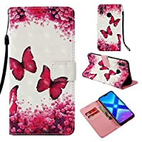 [Huawei Honor 8X] Wallet Case, MGVV Flip Kickstand Case with Card Holders Mirror Wristlet, Folding Stand Protective Book Case Cover for Huawei Honor 8X #1