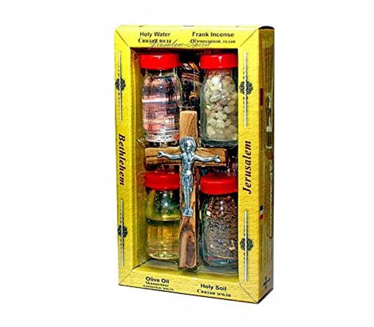 カート貴重な目指すオリーブウッド製クロスセット 4瓶 – 塗油 Bethlehem Gifts TM 製ヨルダン川の水 聖なる地球と香