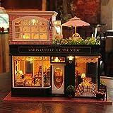 FSEARRT DIYドールハウス ミニハウス French Cafe 手作りキットセット LEDとオルゴール(ラピュータ)付属 リビング インテリア プレゼント 癒しグッズ A-028