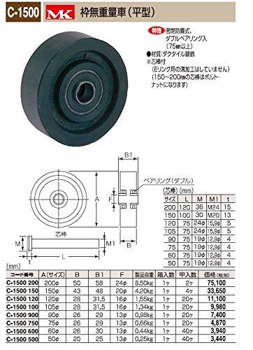 丸喜金属 C-1500 500 枠無重量車(平型) サイズ:50 1個