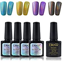 Holographic Holo Nail Polish Long Lasting Glitter Rainbow Varnish Soak off Nail Lacquer 4 Colors + Metallic Top Coat C004