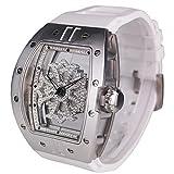 ビッグ レクタングル スケルトン クロス [ベゼル]シルバー[クロス]クリアー[ベルト]ホワイト 1125-0101 腕時計 グルグル時計 ぐるぐる時計