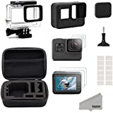 Kupton Accessories for GoPro Hero 7/6 / 5 Black Starter Kit Travel Case Small + Housing Case + Screen Protector + Lens Cover + Silicone Protective Case for Go Pro Hero7 Hero6 Hero5 Outdoor Sport Kit
