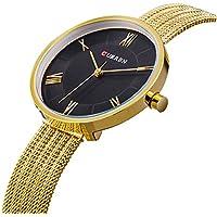 TREEWETO Watches for Women Luxury Gold Mesh Strap Bracelet Simple Rome Style Lady Fashion Dress Wrist Watch