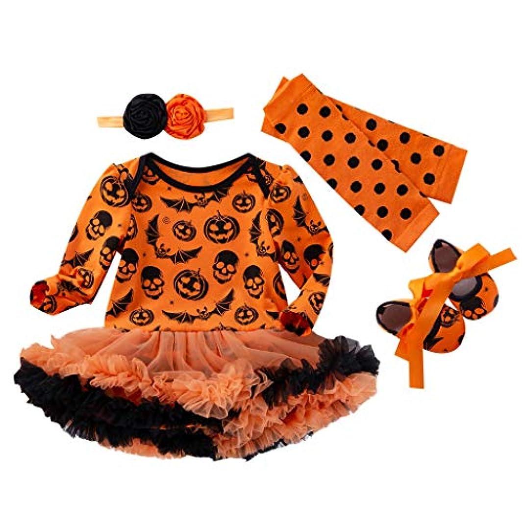 正確さ砂の空港Tovadoo 4PCS ハロウィン 子供 赤ちゃん女の子 衣装セット, 幼児 ハロウィーンの習慣 カボチャ ロンパードレス+ストッキング+ヘアバンド+シューズ 衣装セット