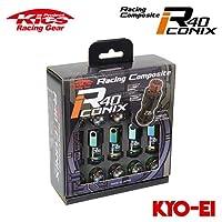 協永産業 Kics レーシングコンポジットR40 アイコニックス M12×P1.5 ネオクロ/ブラック 20pcs (ナット20本セット) キャップレス