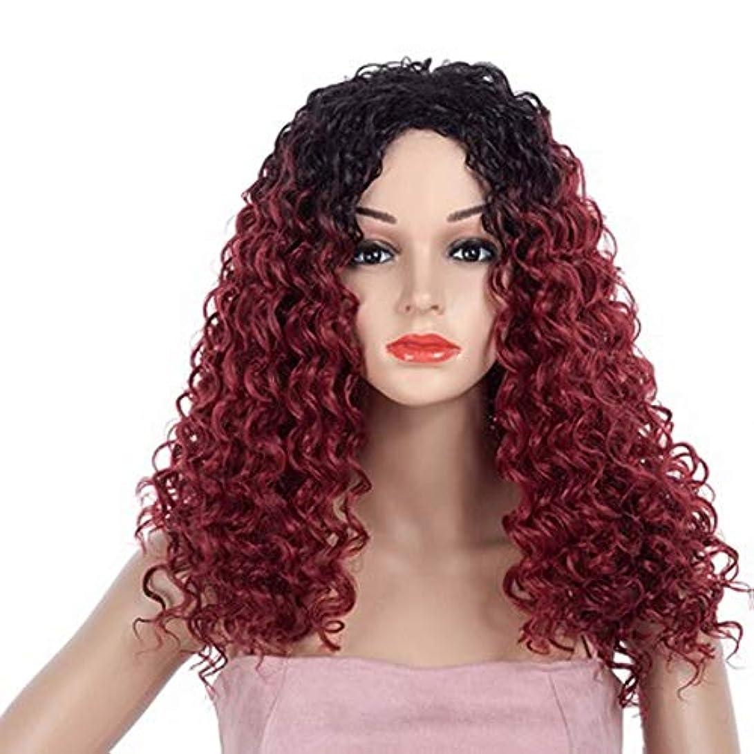 本質的にスリンクメイド女性のための色のかつら長いウェーブのかかった髪、高密度温度合成かつら女性のグルーレスウェーブのかかったコスプレヘアウィッグ、女性のための耐熱繊維の髪のかつら、赤いウィッグ23インチ