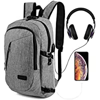 AmazingBag Business Water Resistant Polyester Laptop Backpack with USB Charging Port and Lock Fits Under 17-inch Laptop and Notebook