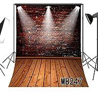 LB ヴィンテージ風 背景布 レンガの背景 背景シート 5x7ft モダン バックペーパー 人物撮影 ファンション撮影 誕生日 パーティー スタジオ用 アイロンかけ可 布地 洗える (150×210cm)