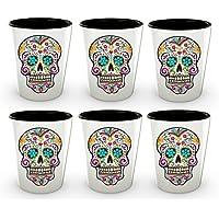 Day of the Deadショットグラス–シュガースカルショットガラス–Mexican Folk Art–Dia De Los Muertos–Cool Shot Glasses–キュートショットグラス–Novelty Shotglass–1.5オンス HollyWood & Twine 2008