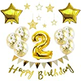 【Big Hashi 】お子様誕生日パーティー HAPPY BIRTHDAY アルミニウム 数字(2)星バルーン(2個)バルーンゴールド 誕生日 飾り付け セット (js-xin02)