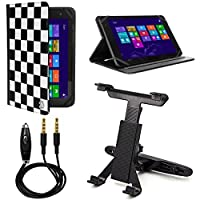 VanGoddy Mary 2.0 Standing Portfolio Case for LG G Pad / LG G Pad X 10.1 inch Tablets with Headrest Mount & Auxiliary Cable, Checker [並行輸入品]