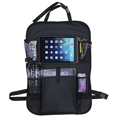 JTENG シートバックポケット 車用収納ポケット 後部座席 車内整理 大容量 多機能 iPad収納ポケット 折り畳式 汎用 車用品 ブラック
