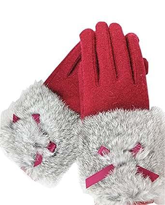(タリンダ)Talindaふわふわラビットファー リボン タッチパネル対応 スマホ手袋 レディース 冬 可愛い 厚手 女性防寒手袋 運転運動にも (1ワインレッド)