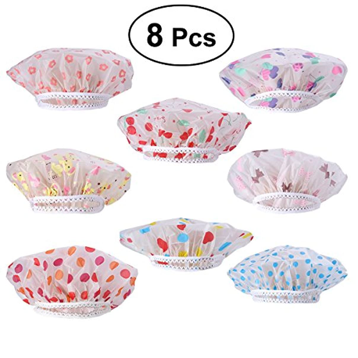 ビバ無限大卵WINOMO シャワーキャップ お風呂 キャップ レディース 8枚セット 繰り返し利用可能