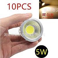 10PCS 5W MR16 12V COB LEDスポットライトウォームホワイトライトホームシーリングデコレーションランプ