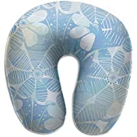 Merlin Quintina フラワーズ アート ブルー 抱き枕 U字型クッション 首枕 ネッククッション 旅行ピロー360度快適な睡眠 子宮頸椎 保護 ポータブル