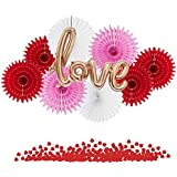 Easy Joy バレンタイン/ウェディング飾り付けセット LOVEバルーン ハート型コンフェデ ペーパーファン 結婚式 記念日 パーティーデコレーション 写真背景 (01)