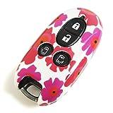 花柄 スマピタくん 日産 ルークス ML21S スマートキー 専用設計 スマピタ ハードケース 花柄4 ホワイト×ピンク