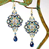 Big Lacy Earrings with Kyanite and Cubic Zirconia Artisan Crafted in 14K Gold Filled; One of a Kind [並行輸入品]