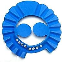 NIUAO シャンプーハット バスグッズ シャンプーキャップ お風呂 可愛い ベビー用品 サイズ調整可能 耳のシールド付き 樹脂 (青)